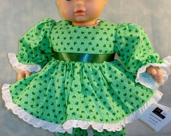 15 Inch Doll Clothes - Tiny Shamrocks on Green St. Patrick's Day Outfit handmade by Jane Ellen to fit 15 inch baby dolls