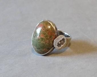 Vintage Unakite Ring Sterling Silver Green Pink Marbled Gemstone Handmade Unique Design Size 5.5