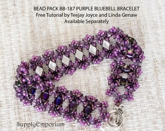 Bead Pack BB-187 Purple Bluebell Bracelet, Tutorial by Teejay Joyce and Linda Genaw Available Separately, BB187 Purple Bluebell Bead Pack