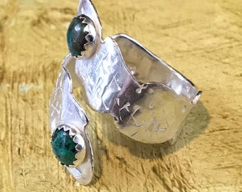 Sterling Silver Adjustable Statement Ring with Chryscrolla Gemstones