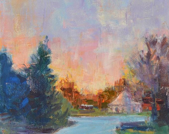 Evening sunset, small oil painting, sunset scene, Original landscape painting, Original Oil painting, impressionist landscape,  New England