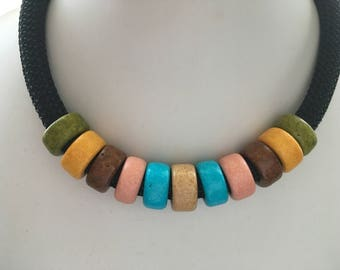 10mm Black Cord Necklace with Olive Green Mustard Yellow Brown Salmon Pink Turquoise Tan Chunky Ceramic Beads