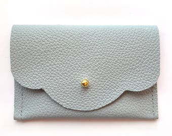 Mini Wallet card holders - 4 x 2 1/2 inches - Light blue leather card case - Credit card case