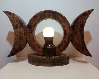 Triple Moon Crystal Ball Night Light made from Burnt Oak with a Citrine Crystal Ball, Night Light, Wiccan, Pagan Altar Piece, Triple Goddess