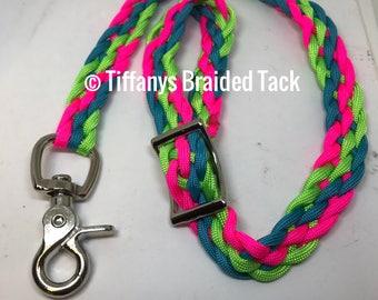 Rein grabber, safety rein saver, neon rein strap, horse tack, rein