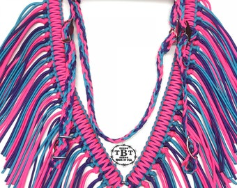Paracord fringe tack set, Fringe breast collar, paracord horse tack, hot pink, acid purple, and neon turquoise reversible, headstall, bridle