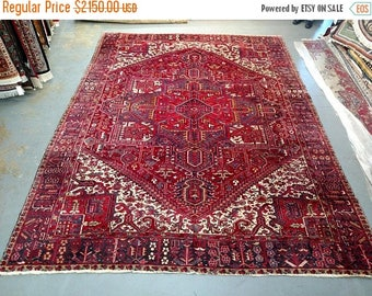 SUMMER CLEARANCE 1980s Hand-Knotted Vintage Heriz Gorovan Persian Rug (3615)