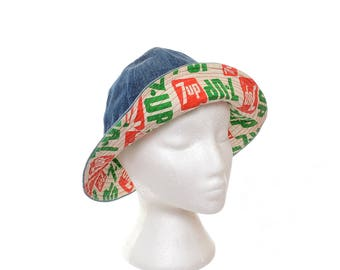 Vintage 70s 7 UP Logo Denim Bucket Hat 1970s Seven Up Advertising Floppy Hat Stoner Cap Rocker Hat / Unisex / Mens / Womens