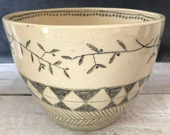 LARGE BOWL -  decorated bowl, olive branches, pencil drawings