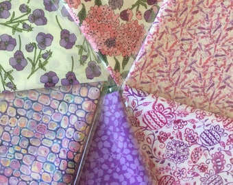"10"" x 13"" pieces - Pink and Purple Pack of 6 Liberty London Tana Lawn"