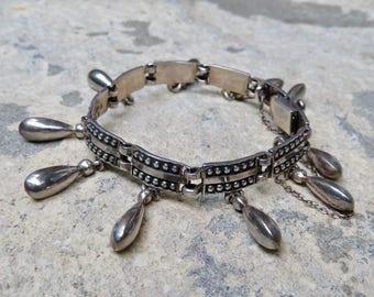 Vintage Taxco Silver, Margot de Taxco Bracelet, Mexican Sterling Signed Bracelet, Silver Charm Bracelet, Vintage Taxco Jewelry