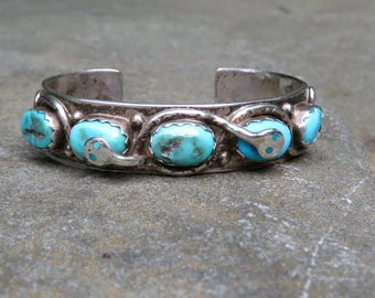 Native American Turquoise and Silver Cuff, Effie C Snake Bracelet, Zuni Turquoise Jewelry, Vintage Handmade Turquoise Cuff,