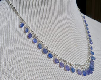 Tanzanite Necklace,Briolette Necklace,Delicate Necklace,Tanzanite Briolettes,Dangle Necklace,Tanzanite and Sterling Necklace,Choker Necklace