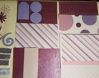Purple Collage Pack P2 ephemera die cuts paper Inspiration pack for junk journals scrapbook cardmaking feathers flowers