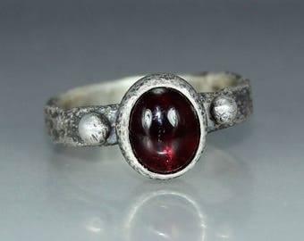 Garnet Ring Womans Ring Organic Womans Ring Rustic Womans Ring Solitare Ring Stamtement Ring