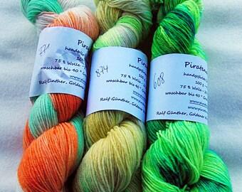 Handdyed SockYarn-KIT 3x 100g 75 Wool, 25 Polyamid 3x 3.5 oz. #8