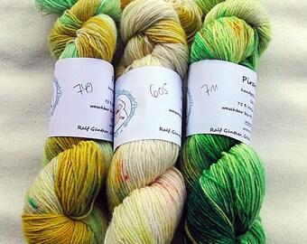 Handdyed SockYarn-KIT 3x 100g 75 Wool, 25 Polyamid 3x 3.5 oz. #18