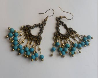 Handmade beaded boho earrings turquoise and white agate