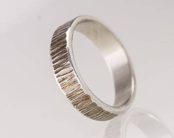 Stainless steel WEDDING band, Womens or Mens hammered band, HANDMADE simple wedding ring with bark finish, band for him, for her - Wood line