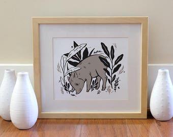 Pig Print - Instant Download, Printable Art, Nursery Art, Home Decor, Piglet, Illustration