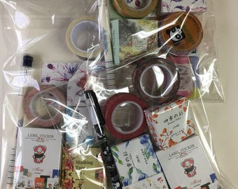Washi Grab Bag, Mystery Grab Bag, Assorted Washi, Washi Tape Set, Sticker Set, Stationery Goody Bag, Planner Supplies, Junk Journal Kit