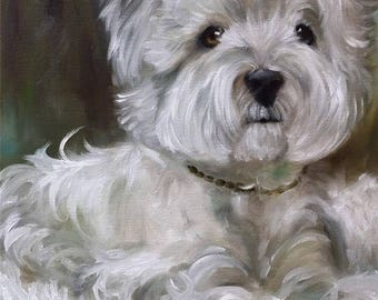 PRINT Westie, west highland terrier Dog Puppy Portrait Art / Mary Sparrow of Hanging the Moon