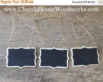 "Summer SALE Tiny Hanging Faux Chalkboard Blackboard Signs For Decorations- 2"" x 3""  Imperfections"