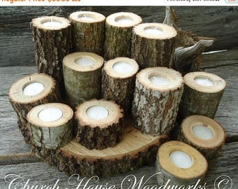SALE 12  Rustic Candle Holders, Tree Branch Candle Holders, Rustic Wedding Centerpieces, Wood Candle Centerpieces