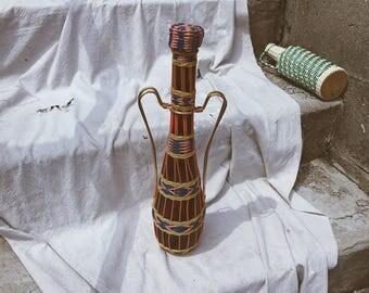 Plastic Wrapped Wine Bottle from Spain, Neon Demijohn