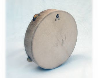 SALE - Tambourine Timbrel 35cm Ηπειρώτικο Ντέφι Tamborello Pandeiro Defi Framedrum Bronze Zils Sewn Skin by KleoDrums Natural Finish