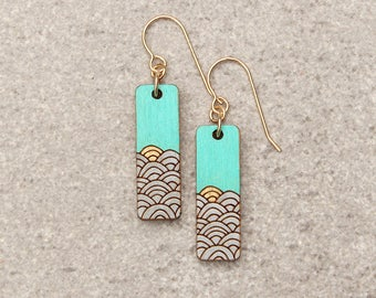 Beach earrings for wife, Ocean Earrings, Teal Earrings, Beach Earrings, wood earrings, Ocean Jewelry, Gift for girlfriend, summer earrings