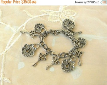 Summer Sale Lock and Key Charm Bracelet, Vintage Item, 1980s, Silver Tone Metal