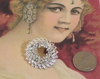 Summer Sale Vintage 1990's Silvertone and White Rhinestones Wreath Pin, Feathers and Flowers
