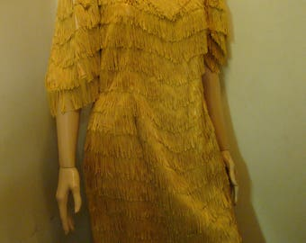 Vintage Handmade Fringe Flapper Dress Small Size Adult