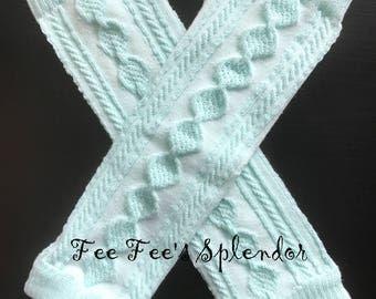 Soft Aqua Blue knit leg warmers - Baby leg warmers knee protectors- Baby leggings