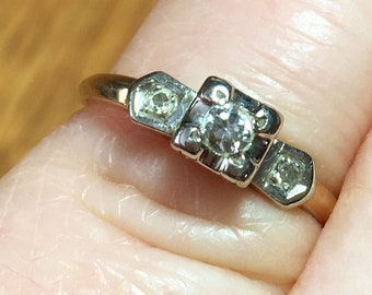 Vintage 14k Yellow Gold Diamond Engagement Ring