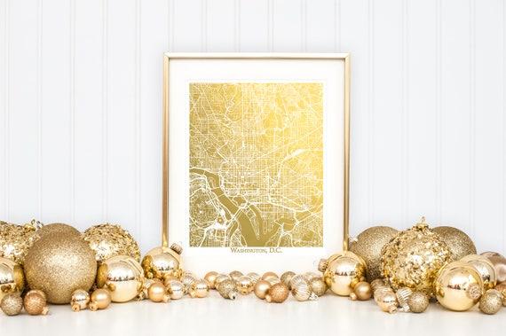 Washington DC Map Gold Foil Map Washington DC Print Gold