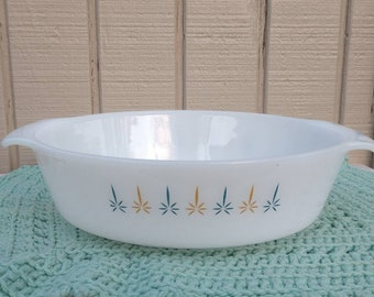 Vintage Anchor Hocking Fire King #443 Candle Glow 1 quart Oval Casserole Dish