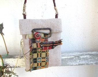 Mini purse,  Mini Bag,  Flax pouch, linen bag medicine, amulet bag, small flax treasure, pouch necklace, Talisman Pouch, hand-sewn pouch,