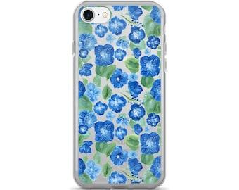 Blue Floral iPhone Case, floral phone case, blue iPhone case, floral iPhone case, flower iPhone case, blue floral case, clear floral case