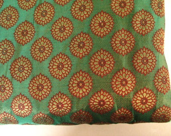 Green Maroon and Copper gold  Floral Pattern Poly Brocade Fabric by the Yard