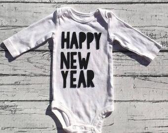 Happy New Year. New Years. Bodysuit.Gender Neutral