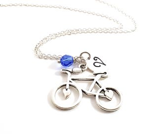 Bicycle Heart Necklace - Initial Necklace - Personalized Necklace - Sterling Silver Jewelry - Gift for Her
