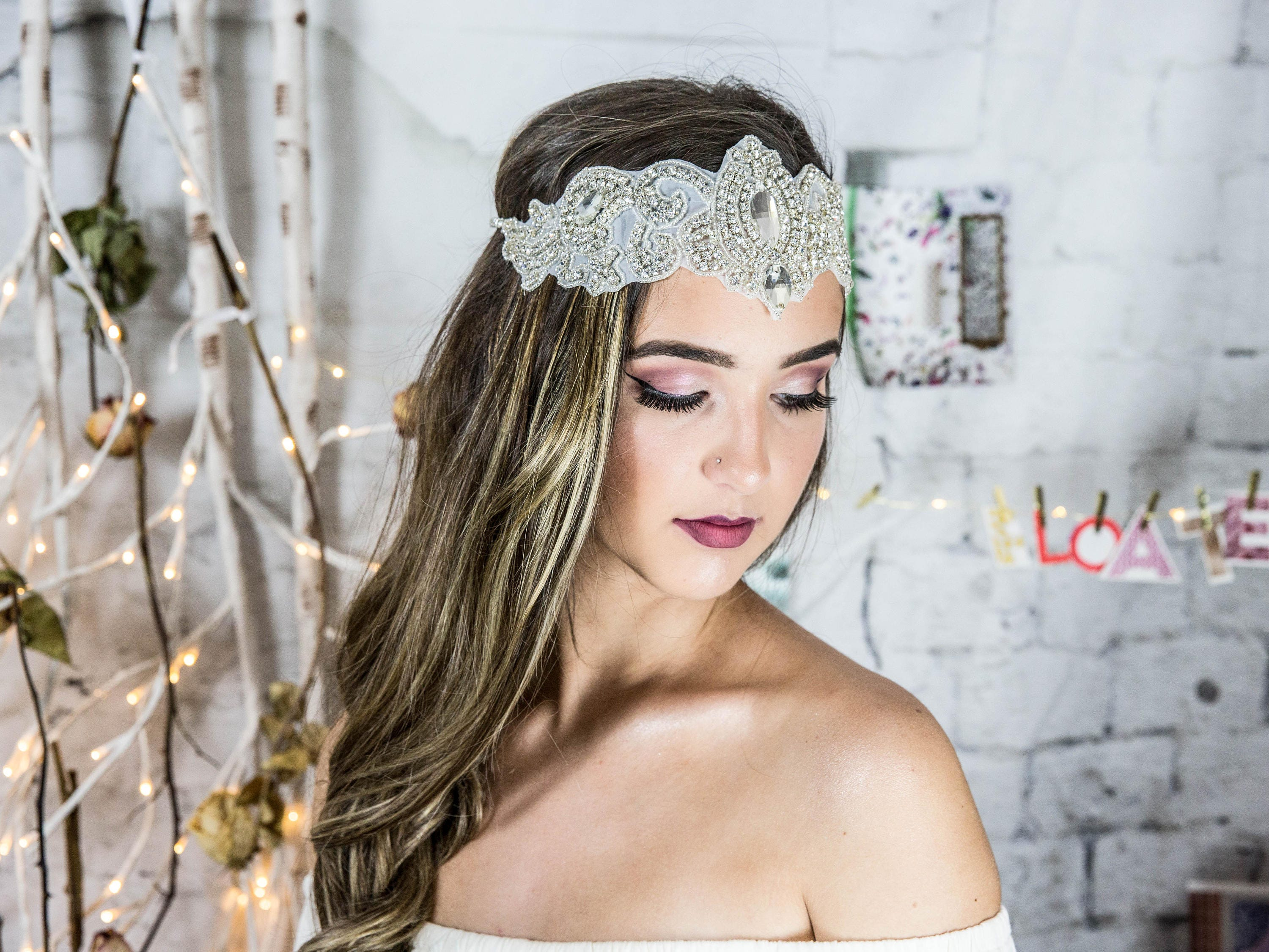 Boho Bridal Headband Statement Headpiece Crystal Head Chain Gatsby Hair Jewelry Beach Wedding Accessories With Crystals