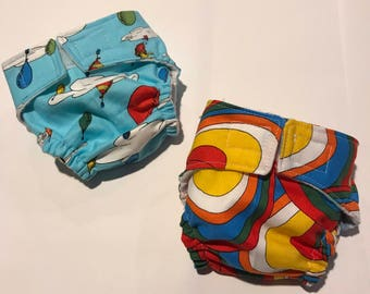 Primary Balloon Doll Diaper Set of 2 - adjustable - fits bitty baby