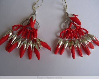 Wall of Red coral earrings