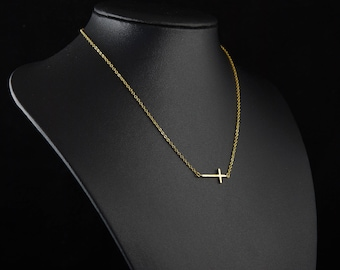 Gold Cross Necklace, Dainty Sideways Cross Pendant, Delicate Fine Chain, Simple Layering Necklace