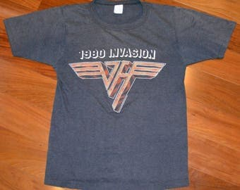 1980 VAN HALEN vintage concert tour rare original rock band tee t-shirt tshirt (S/M) Small VH Eddie 80's 70's David Lee Roth mens gift