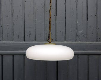 Vintage french, milk glass ceiling or pendant light from the 1930s