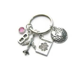 Passport, Earth And Airplane Keychain, Travel Keychain, Traveler Keychain, Earth Keychain, Passport Keychain, Airplane Keychain,Personalized
